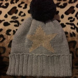 Girls Knit Winter Hat with Gold Star